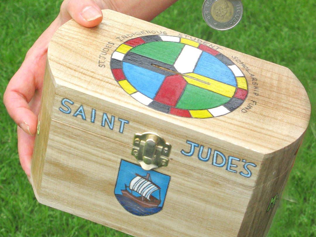 St. Judes Indigenous Student Scholarship coin box
